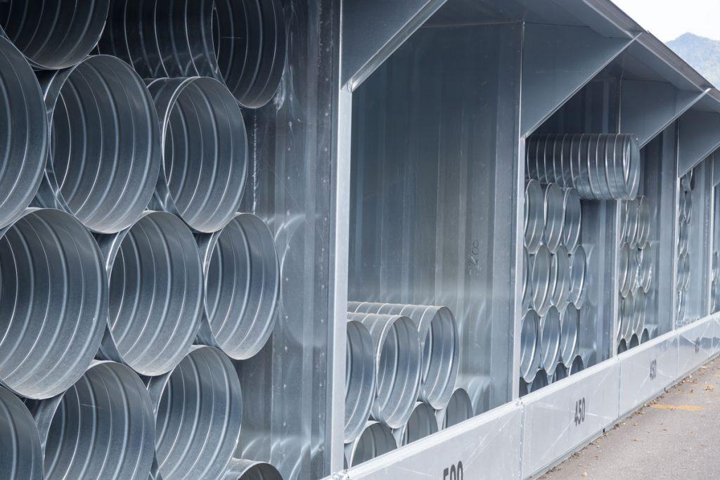 Stockage de gaines de ventilation circulaires